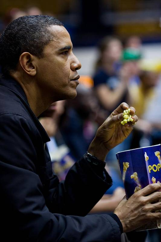 History Poster featuring the photograph President Barack Obama Eats Popcorn by Everett