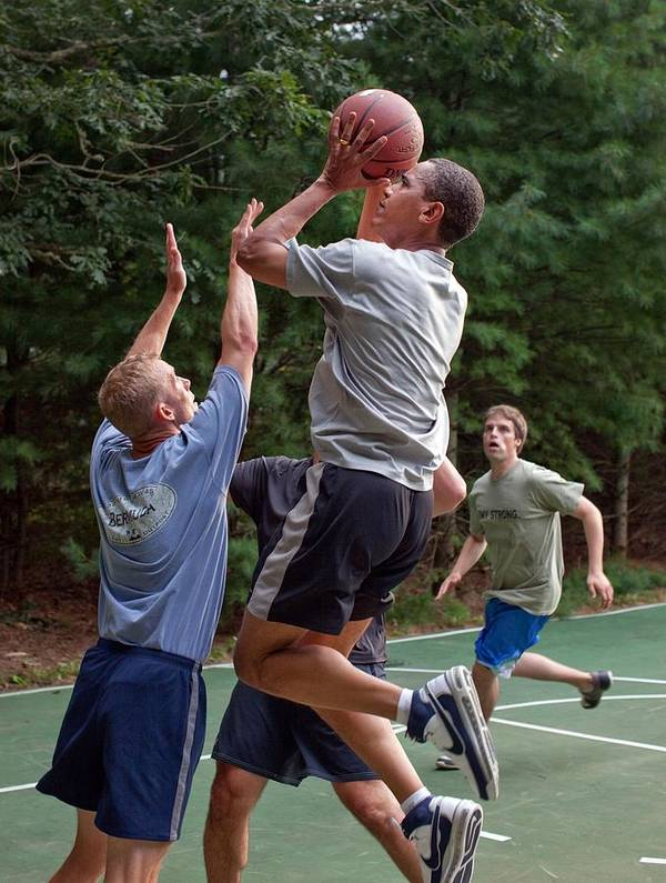 History Poster featuring the photograph President Barack Obama Plays Basketball by Everett
