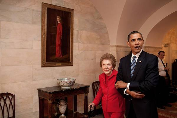 History Poster featuring the photograph President Obama And Former First Lady by Everett