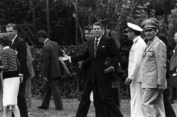 History Poster featuring the photograph President Reagan Gestures To Members by Everett