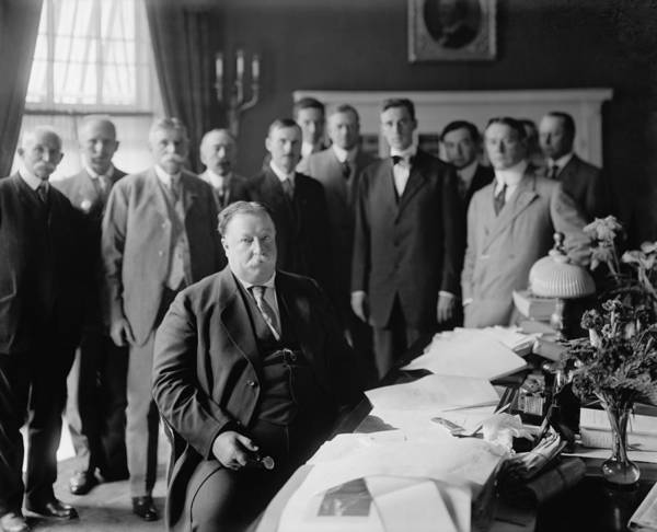 History Poster featuring the photograph President William H. Taft At His Desk by Everett