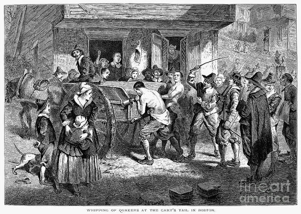 1670s Poster featuring the photograph Puritans And Quakers, 1677 by Granger
