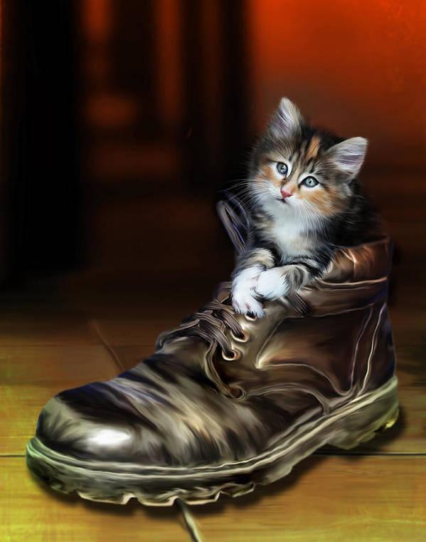 Shoe Poster featuring the digital art Puss In Boot by Julie L Hoddinott