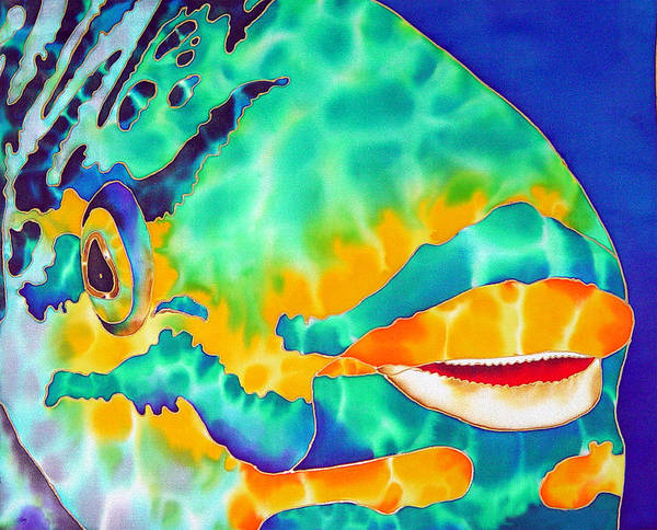 Silk Art Poster featuring the painting Queen Parrotfish by Daniel Jean-Baptiste