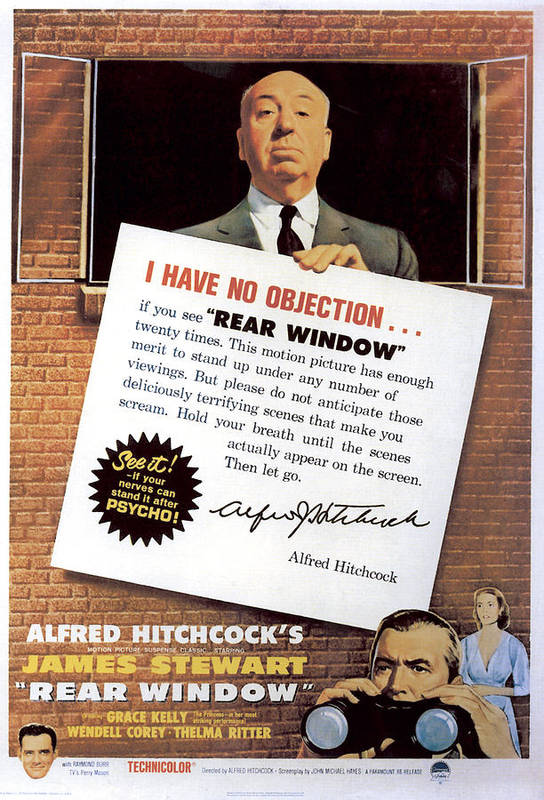 1950s Movies Poster featuring the photograph Rear Window, Alfred Hitchcock, James by Everett