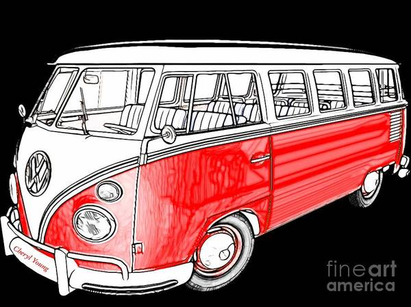 Volkswagen Bus Poster featuring the photograph Red Volkswagen by Cheryl Young