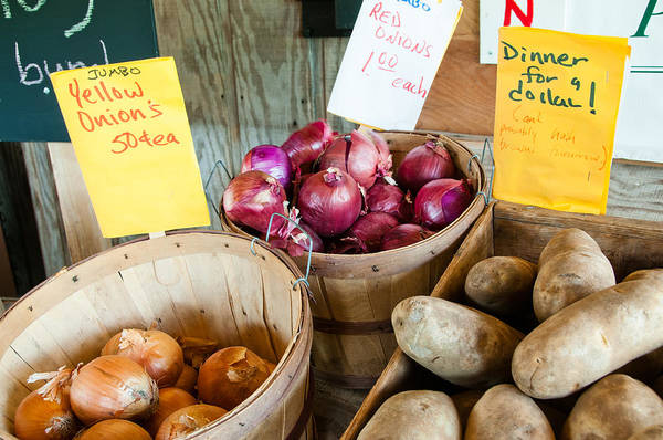 Skagit Poster featuring the photograph Roadside Produce Stand Onions And Potatoes by Denise Lett