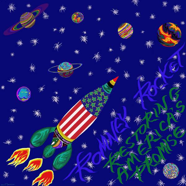 Mitt Romney Poster featuring the painting Romney Rocket - Restoring America's Promise by Robert SORENSEN