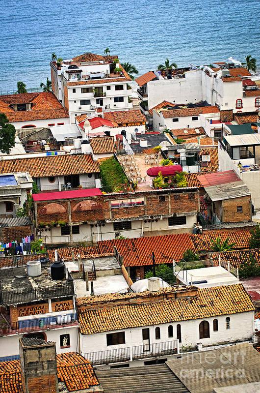 Puerto Vallarta Poster featuring the photograph Rooftops In Puerto Vallarta Mexico by Elena Elisseeva