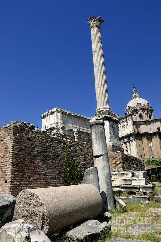 Ancient Rome Poster featuring the photograph Rostra. Column Of Phocas And Septimius Severus Arch In The Roman Forum. Rome by Bernard Jaubert