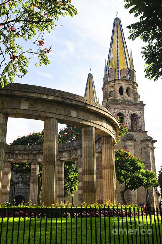 Rotunda Poster featuring the photograph Rotunda Of Illustrious Jalisciences And Guadalajara Cathedral by Elena Elisseeva