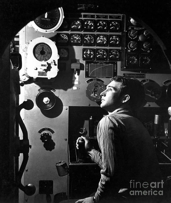 Vertical Poster featuring the photograph Sailor At Work In The Electric Engine by Stocktrek Images