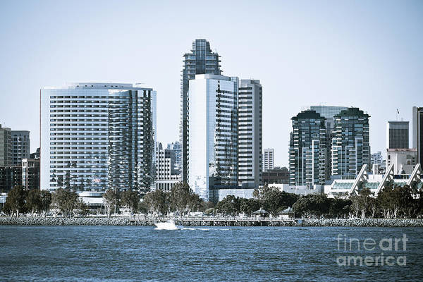 2012 Poster featuring the photograph San Diego Downtown Waterfront Buildings by Paul Velgos