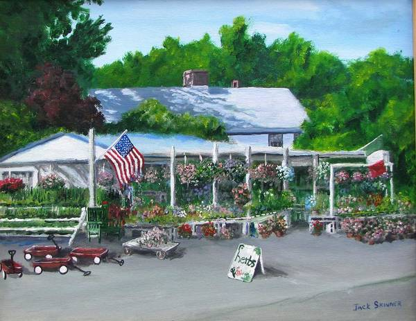 Farm Stand Poster featuring the painting Scimone's Farm Stand by Jack Skinner