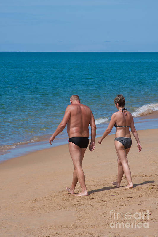 Attractive Beach Couple Cute Husband Life Lifestyle Love Lovers Poster featuring the photograph Senior Elderly Lover Couple by Atiketta Sangasaeng