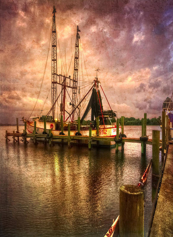 Boats Poster featuring the photograph Shrimp Boat At Sunset II by Debra and Dave Vanderlaan
