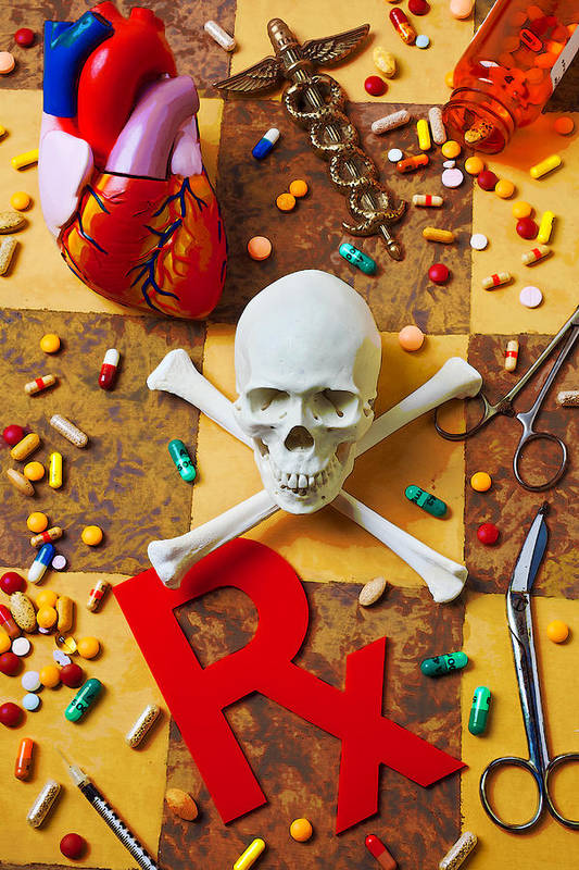 Skull Bones Heart Pills Medicine Poster featuring the photograph Skull And Bones With Medical Icons by Garry Gay