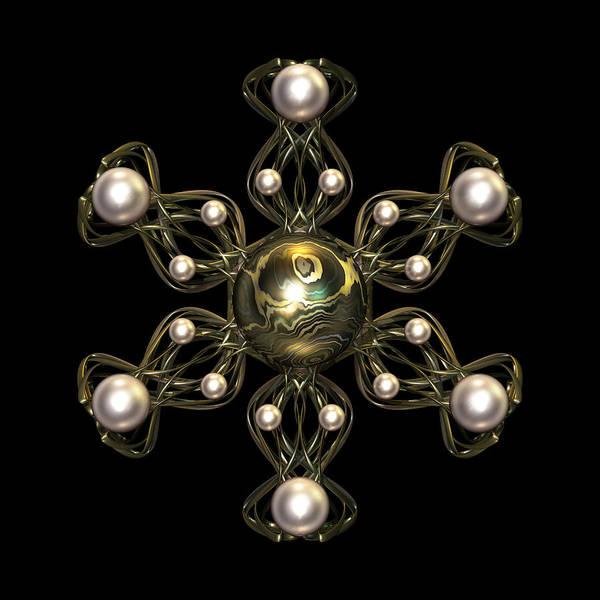 Color Poster featuring the digital art Snowflake Jewel by Hakon Soreide