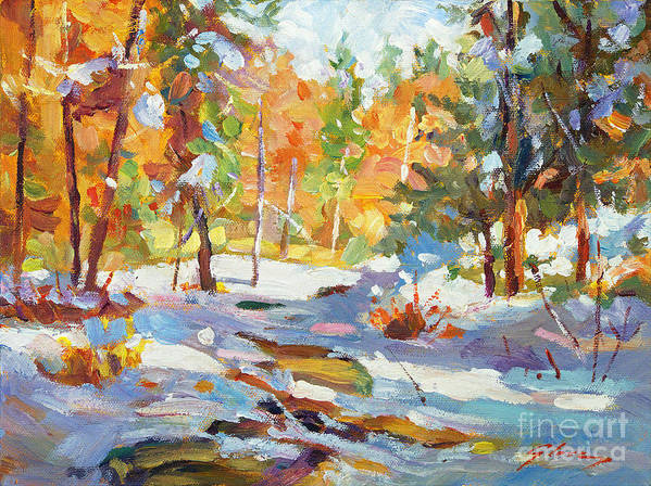 Impressionist Poster featuring the painting Snowy Autumn - Plein Air by David Lloyd Glover