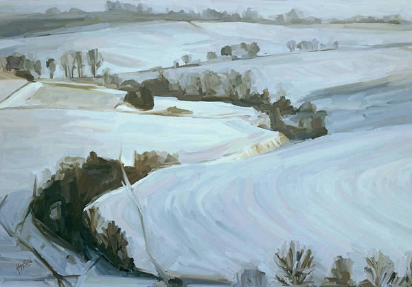 Zuid Limburg Poster featuring the painting South Limburg Covered With Snow by Nop Briex
