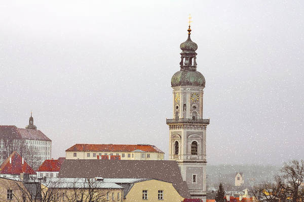 Freising Poster featuring the photograph St. George In Snow - Freising Bavaria Germany by Christine Till