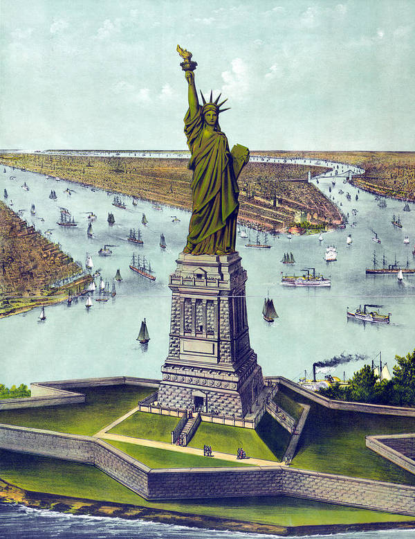 1880s Poster featuring the photograph Statue Of Liberty. The Great Bartholdi by Everett