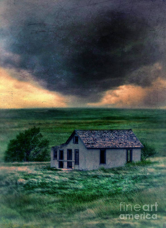 Farm Poster featuring the photograph Storm Over Abandoned House by Jill Battaglia
