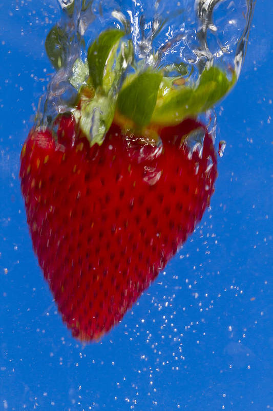 Red Poster featuring the photograph Strawberry Soda Dunk 7 by John Brueske