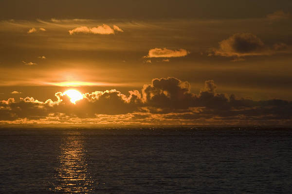 Cloud Poster featuring the photograph Sun Setting On The Ocean With The by Michael Interisano