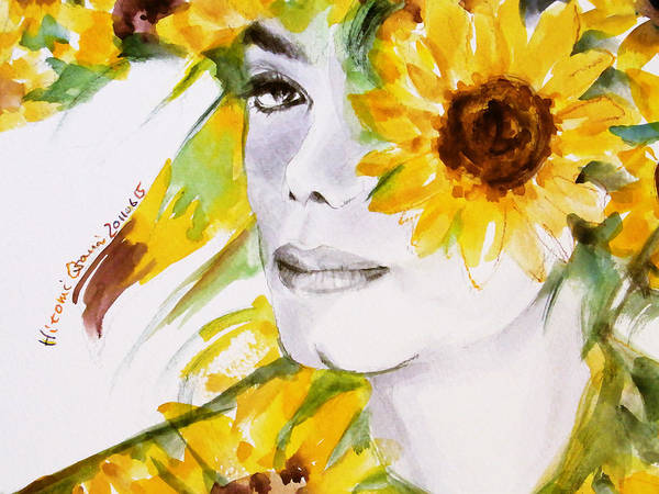 Michael Jackson Poster featuring the painting Sunflower Close-up by Hitomi Osanai