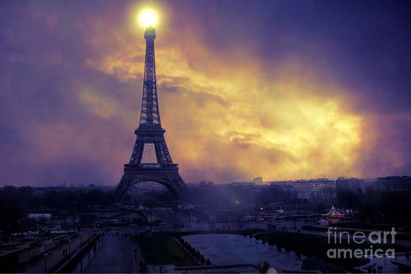 Paris Eiffel Tower Prints Poster featuring the photograph Surreal Fantasy Paris Eiffel Tower Sunset Sky Scene by Kathy Fornal