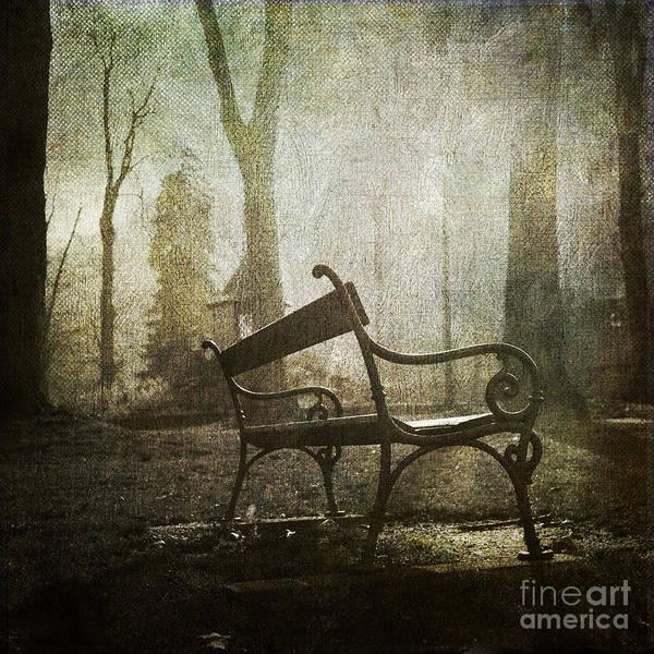 Absence Poster featuring the photograph Textured Bench by Bernard Jaubert
