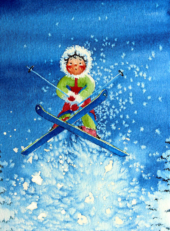 Kids Art For Ski Chalet Poster featuring the painting The Aerial Skier - 11 by Hanne Lore Koehler