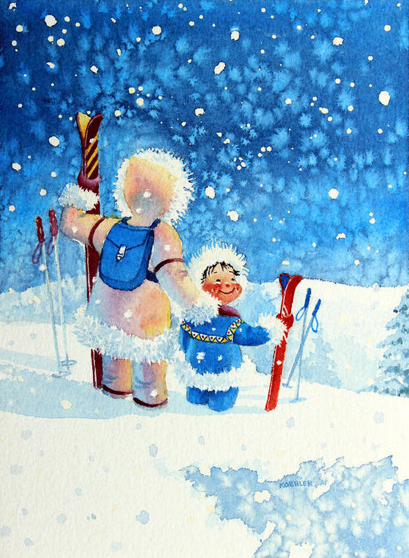Kids Art For Ski Chalet Poster featuring the painting The Aerial Skier - 4 by Hanne Lore Koehler