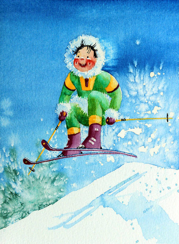 Kids Art For Ski Chalet Poster featuring the painting The Aerial Skier - 9 by Hanne Lore Koehler