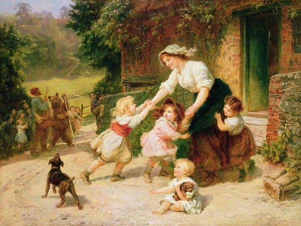 Quaint Poster featuring the painting The Dancing Bear by Frederick Morgan