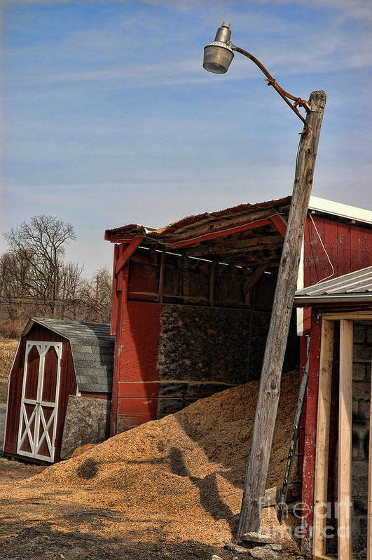 Red Poster featuring the photograph The Grain Barn by Paul Ward