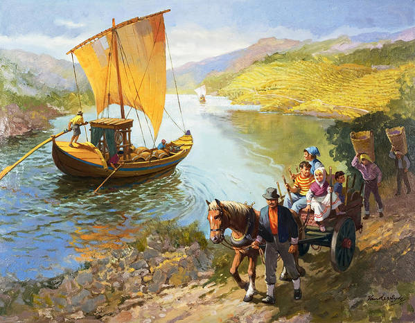 Grapes; Male; Female; Children; Child; Horse And Cart; Ship; Boat; Sail; River; Wine Making; Fruit; Vinivulture; Workers; Creek; Worker Poster featuring the painting The Grape-pickers Of Portugal by van der Syde