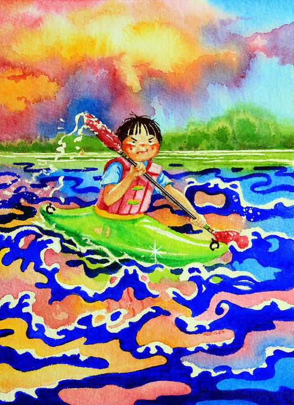 Olympic Picture Book Poster featuring the painting The Kayak Racer 12 by Hanne Lore Koehler