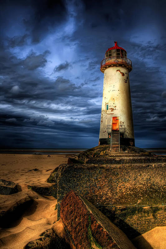 Beach Poster featuring the photograph The Talacre Lighthouse by Adrian Evans