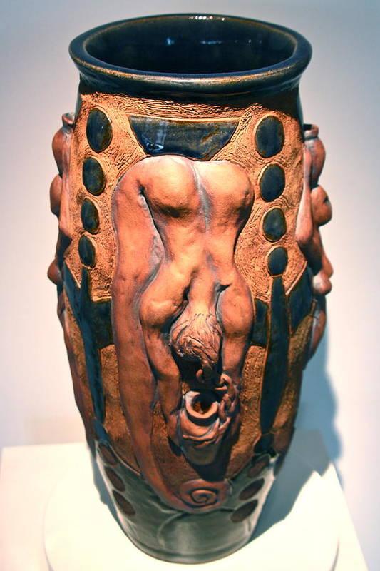 Vase Poster featuring the ceramic art The Water Bearer - Aquarian by Dan Earle