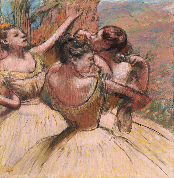 Three Dancers Poster featuring the pastel Three Dancers by Edgar Degas