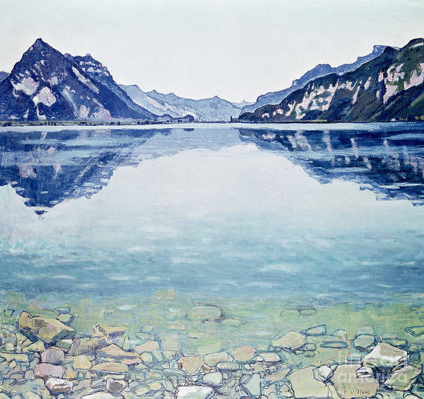 Lake Poster featuring the painting Thunersee Von Leissigen by Ferdinand Hodler
