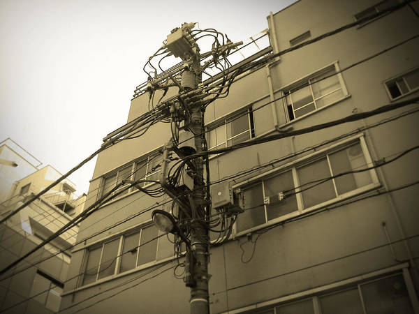 Tokyo Poster featuring the photograph Tokyo Electric Pole by Naxart Studio