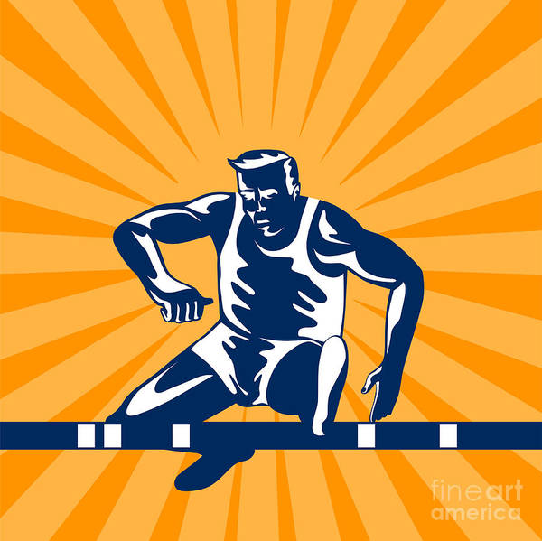Track And Field Poster featuring the digital art Track And Field Athlete Jumping Hurdles by Aloysius Patrimonio