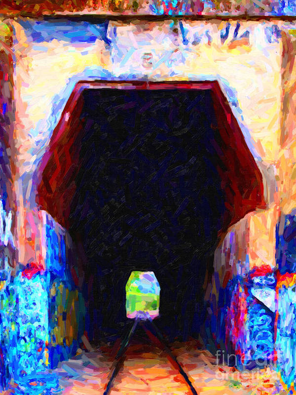 Impressionism Poster featuring the photograph Train Tunnel With Graffiti by Wingsdomain Art and Photography