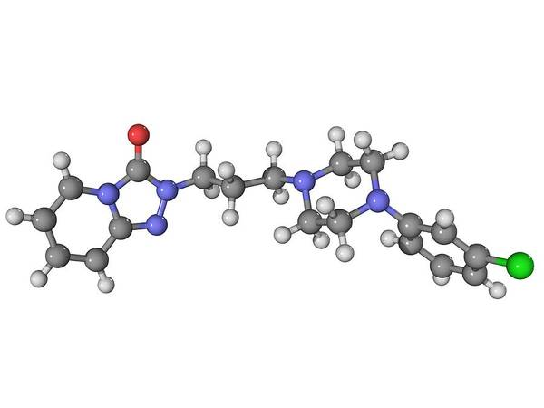 Molecular Poster featuring the photograph Trazadone Antidepressant Drug Molecule by Laguna Design