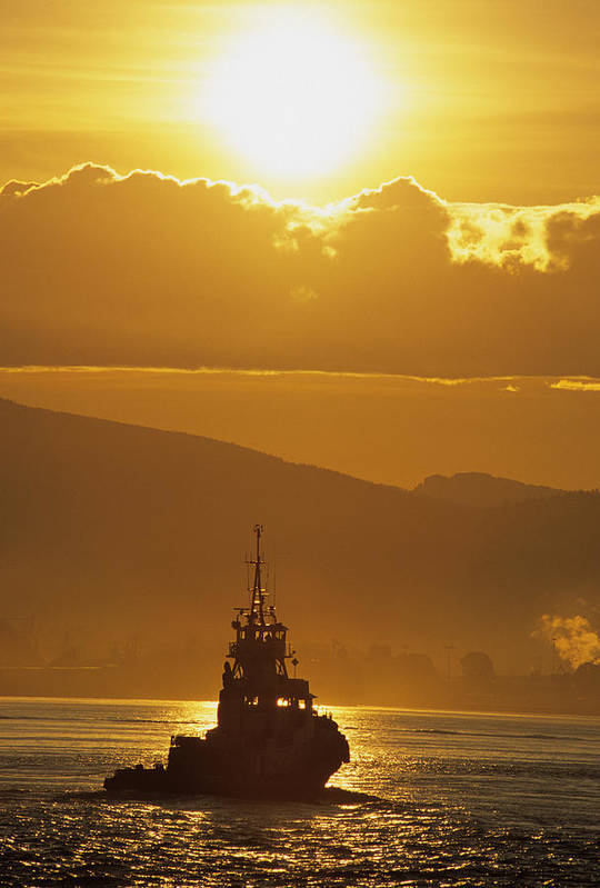 Back-lit Poster featuring the photograph Tugboat At Sunrise, Burrard Inlet by Ron Watts