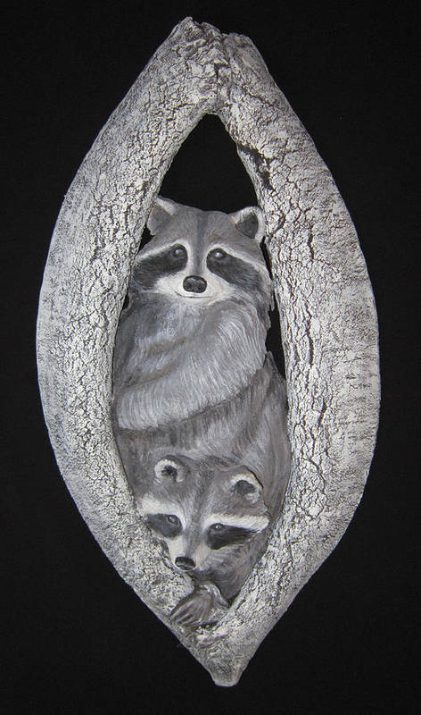 Racoon Poster featuring the sculpture Two In A Tree by Janet Knocke