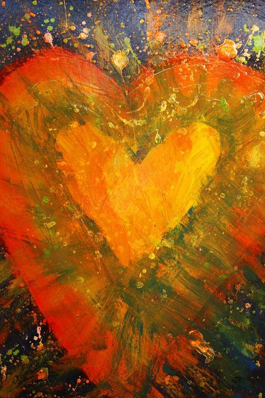 Hearts Desire Poster featuring the painting Tye Dye Heart by James Briones